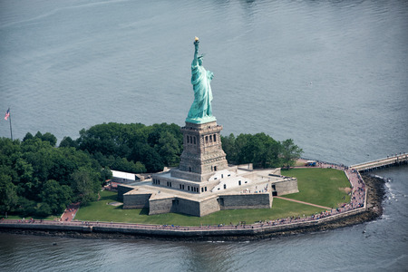 statue: statue of liberty aerial view from helicopter