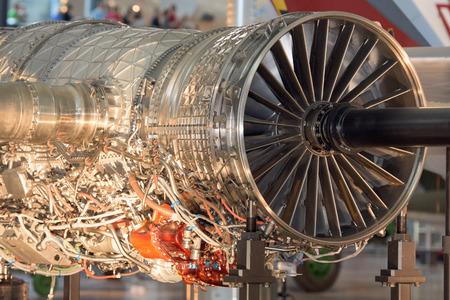 飛行機ジェット ガス タービン エンジン詳細 写真素材