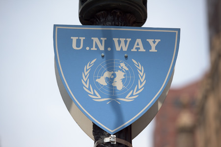 united nations way sign detail Editorial