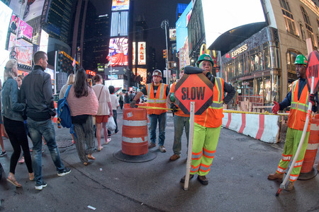 new york times: NEW YORK - USA 16 JUNE 2015 new york times square road works