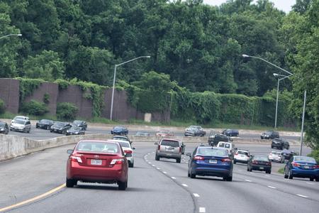WASHINGTON, USA JUNE, 22 2015 Maryland to Washington heavy car traffic Congested highway