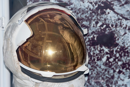 Astronaut Space Suit helmet detail on moon background
