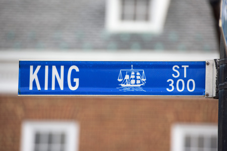 king street: Alexandria king street blue sign detail Stock Photo