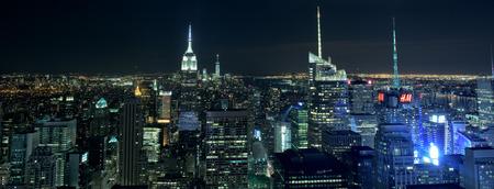 city scene: NEW YORK CITY - JUNE 13 2015: New york cityscape at night from Rockfeller Center top of the rock Editorial