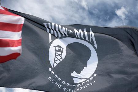 usa flags: American flag along with the POW MIA flag