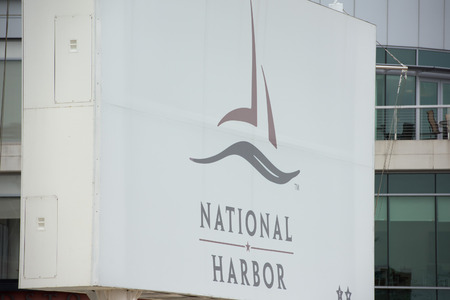 view of an atrium in a building: National Harbor harbor sign detail close up
