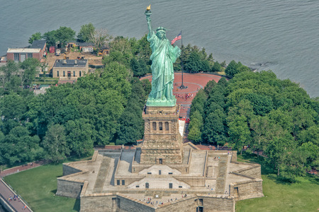 liberty island: statue of liberty aerial view from helicopter