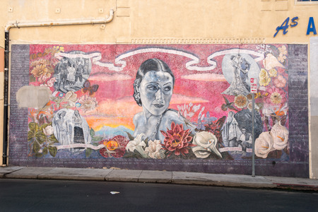 walk of fame: LOS ANGELES, USA - AUGUST 1, 2014 - movie wall painting on  LA Hollywood Walk of Fame Editorial