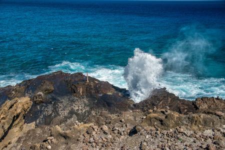 blow hole in hawaii oahu island Stock Photo