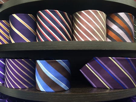 display stand: different colors silk tie on display stand