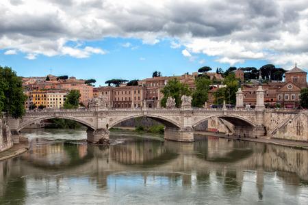 constantin: Rome sant angelo bridge over vatican city view Stock Photo