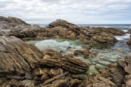 kangaroo white: rocks of vivonne bay kangaroo island landscape
