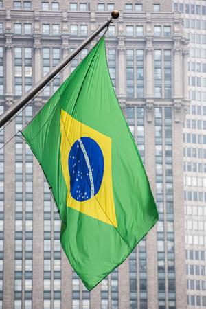 avenue: detail of waving brazil flag in new york park avenue Stock Photo