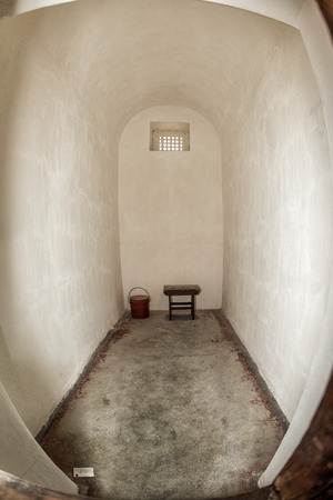 jailhouse: PERTH - AUSTRALIA - AUGUST, 20 2015 - Punishement cell. Fremantle Prison was constructed as a prison for convicts and more than 50 people were hanged inside the building