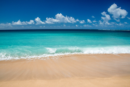 Hawaii Poipu beach landscape panorama on sunny day
