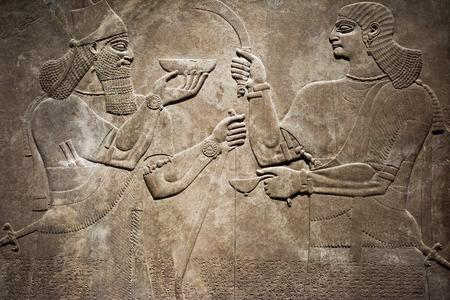 메소포타미아의 고대 바빌로니아와 아시리아 조각 그림