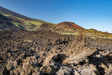 etna: etna volcano caldera view after eruption