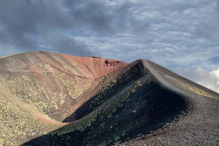 eruption: etna volcano caldera view after eruption