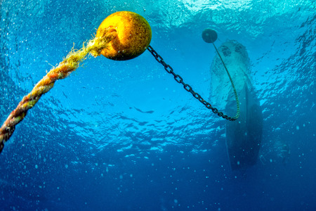 boat chain and yellow buoy anchor from underwater Imagens - 48457131