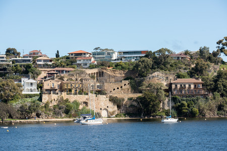 sea of houses: perth bay fremantle by the sea houses landscape panorama Stock Photo