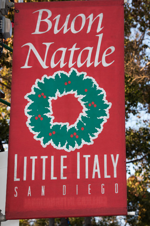 traditonal: SAN DIEGO , USA-  DECEMBER 4, 2015 -  Merry xmas sign in Little Italy - San Diego, traditonal celebration of italian people living in USA Stock Photo