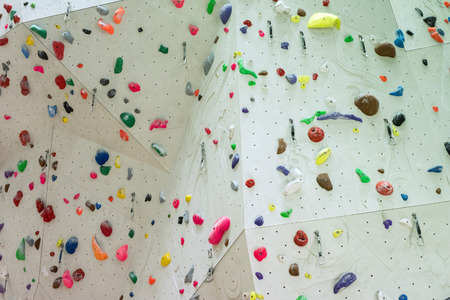 Indoor Climbing gym wall detail close up