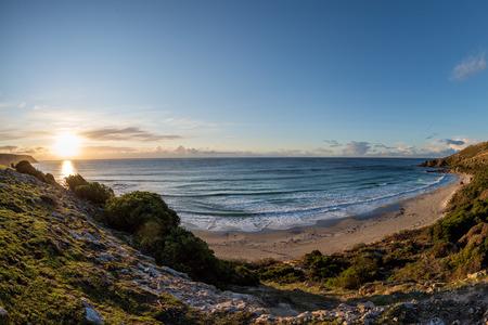 kangaroo island: kangaroo island sanbdy beach panorama at sunset