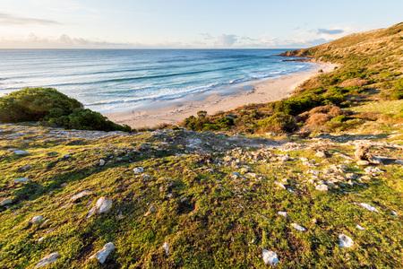 beach panorama: kangaroo island sanbdy beach panorama at sunset