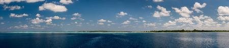 beach panorama: maldives tropical paradise beach crystal water white sand beach panorama