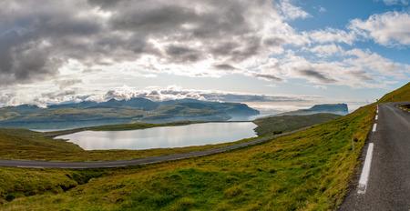 danmark: Faer Oer Danmark Vestmanna Cliffs Panorama landscape Stock Photo