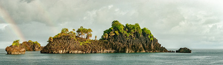 Tropical Paradise Raja Ampat Papua Indonesia landscape while raining