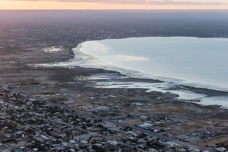 baja california: La PAz San Jose del Cabo Baja California Sur Mexico aerial view after sunset landscape
