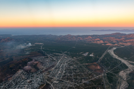 La PAz San Jose del Cabo Baja California Sur Mexico aerial view after sunset landscape