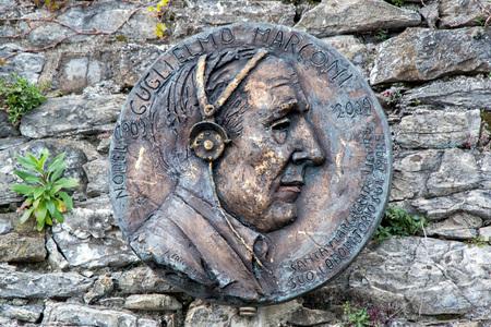 telegraphy: guglielmo marconi statue in santa margherita village italy