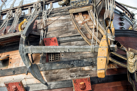 deck cannon: wooden pirate sail ship detail close up