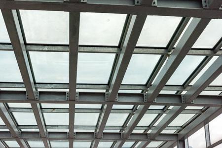 prefabricated buildings: iron metallic building framework detail