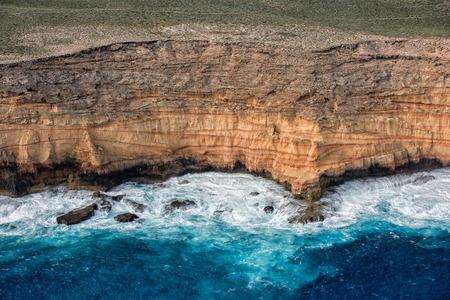 salinity: cliffs aerial view in shark bay Monkey Mia Australia denham Stock Photo