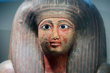 egyptian wood painted ancient sarcophagus