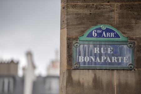 bonaparte: bonaparte street sign on wall Editorial