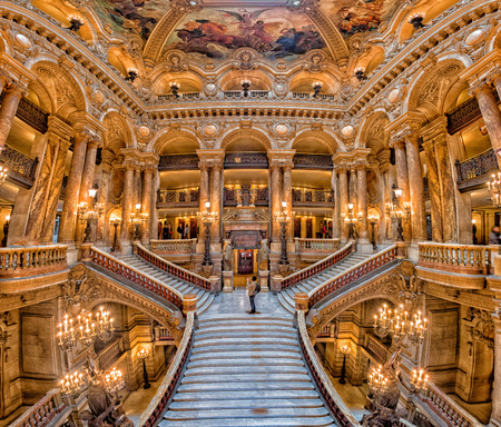 opera garnier: PARIS, FRANCE - MAY 3, 2016: the Paris Opera is the primary opera company of France. It was founded in 1669 by Louis XIV. Editorial