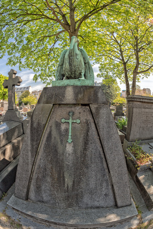 the celebrities: PARIS, FRANCE - MAY 2, 2016: Monumental  Pere-Lachaise cemetery, Paris. Each year thousands fans and curious visitors come to pay homage to celebrities grave Editorial