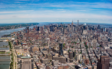 office view: NEW YORK city view from highest in the city freedom tower Stock Photo
