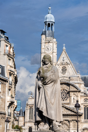 dramatist: Corneille statue at pantheon with Saint etienne du mont church background