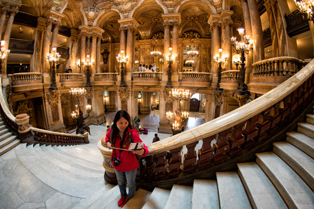 palais garnier: PARIS, FRANCE - MAY 3, 2016: the Paris Opera is the primary opera company of France. It was founded in 1669 by Louis XIV. Editorial