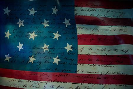 EE.UU. América del himno nacional Star Spangled Banner documento original escrito a mano en estrella y rayas fondo de la bandera