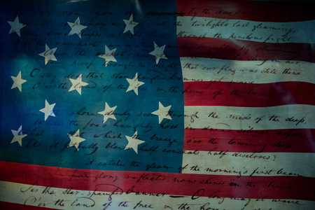 spangled: Usa America national anthem Star Spangled Banner original paper hand written on star and stripes flag background Stock Photo