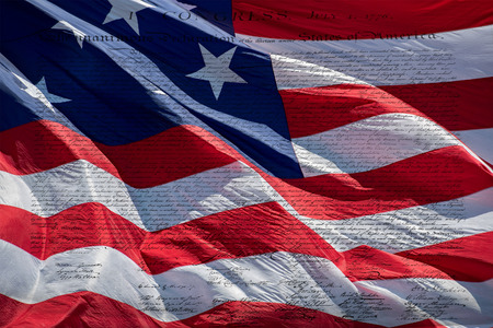 bill of rights: American Declaration of independence 4th july 1776 on usa flag backfround Stock Photo