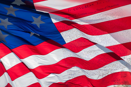 declaration: American Declaration of independence 4th july 1776 on usa flag backfround Stock Photo