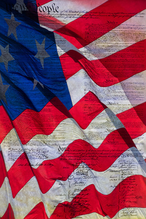 constitutional: constitutional law usa american 4th july detail on stars and stripes waving flag Stock Photo