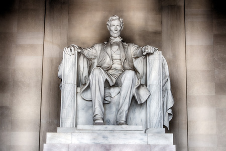 abe: WASHINGTON, USA - JUNE 24 2016 - Lincoln statue detail at Memorial in Washington DC is a most visited touristic place in DC